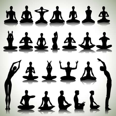 Male and female silhouettes in yoga pose on abstract background