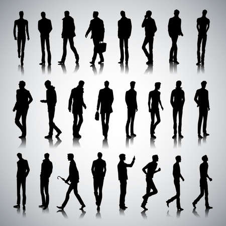 guy standing: Set of urban male silhouettes on abstract background Illustration