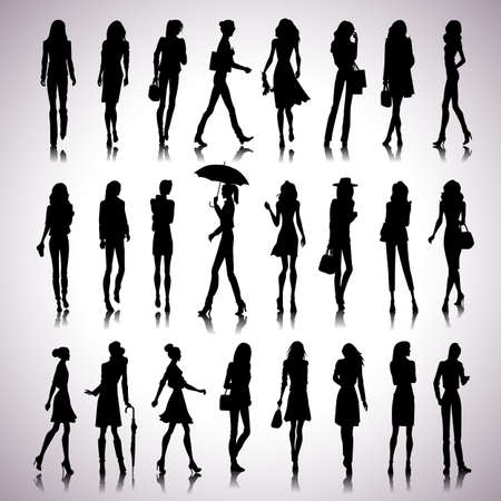 city silhouette: Set of female silhouettes in the city on abstract background