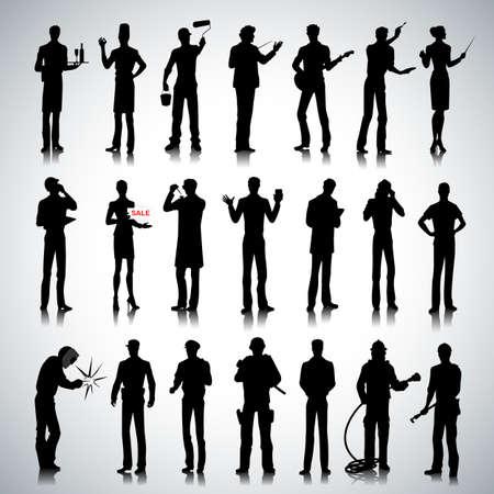 expositor: Conjunto de varias profesiones siluetas de personas en el fondo abstracto Vectores