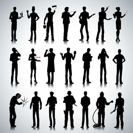female cop: Set of various professions people silhouettes on abstract background