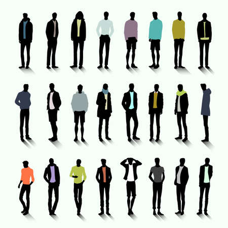 trendy male: Set of trendy male silhouettes with colour elements of clothing Illustration