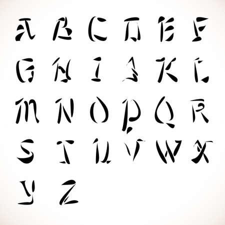latin alphabet: English alphabet in calligraphic type font