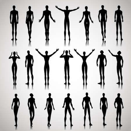Set van mannelijke en vrouwelijke silhouetten op abstracte