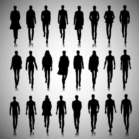 catwalk model: Set of male fashion silhouettes on runway