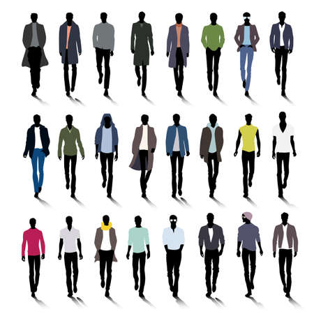Set of male fashion silhouettes on runway