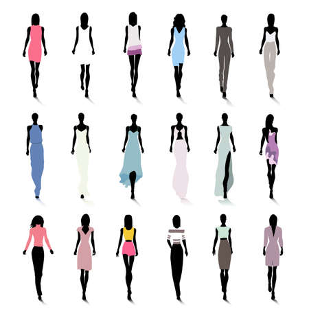 Set of female fashion silhouettes on the runway Vector
