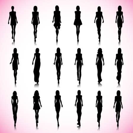 catwalk model: Set of female fashion silhouettes on the runway Illustration