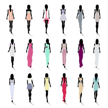 Set di sagome di moda femminile sulla pista