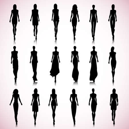 Set of female fashion silhouettes on the runway Ilustrace