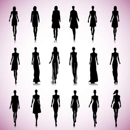 滑走路の上の女性のファッションのシルエットのセット