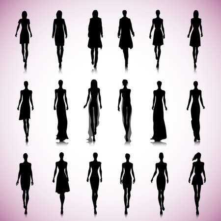 Set of female fashion silhouettes on the runway Illusztráció