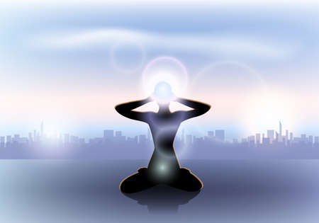 Female yoga silhouette with the third eye Stock Vector - 29844250
