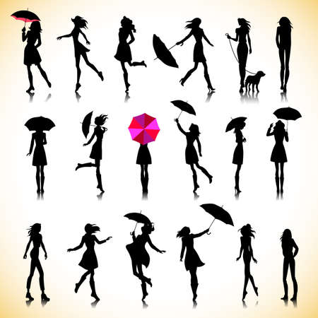 people walking: Set of female silhouettes in autumn