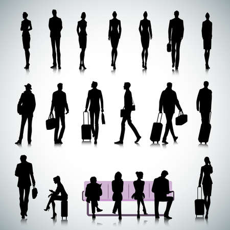 Set of people silhouettes in airport Vector
