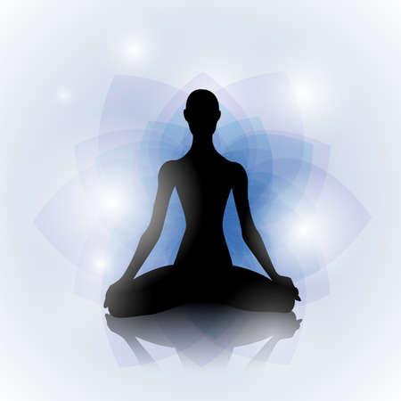 iluminados: Silueta femenina en pose de yoga en el fondo abstracto de loto