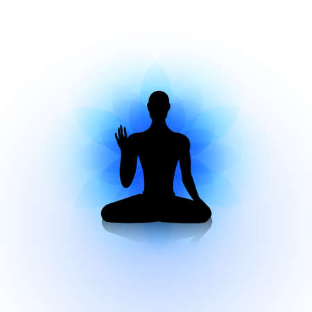 iluminados: Silueta masculina en la pose de yoga en abstracto azul backgraund loto