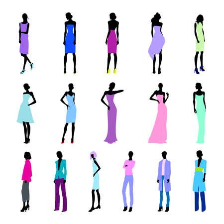 Set der Haute Couture weibliche Farbe Silhouetten Standard-Bild - 36985440