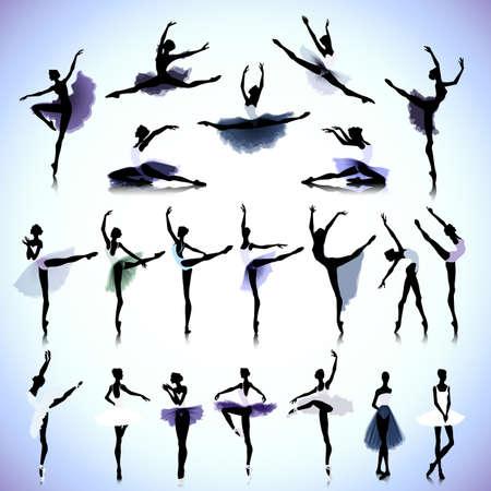 ballet: Conjunto de siluetas femeninas de los bailarines de ballet Vectores