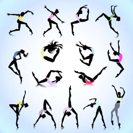 Set van vrouwelijke silhouetten dansen in moderne stijl