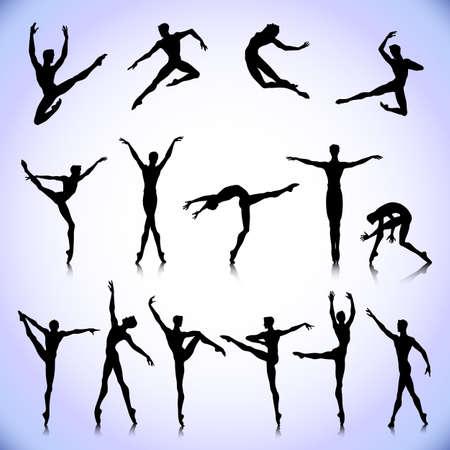 Set of black silhouettes. Male ballet dancers