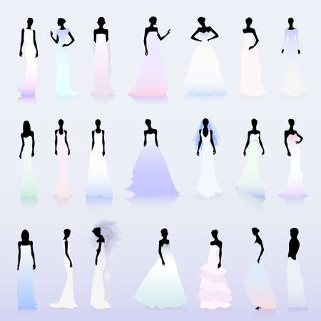 set of female silhouettes in color wedding dresses royalty free