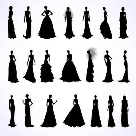 lady silhouette: Set of female silhouettes in wedding dresses