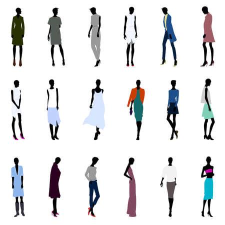 Set of bold style female silhouettes Ilustrace