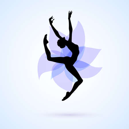 Female silhouette dancing on abstract flower background