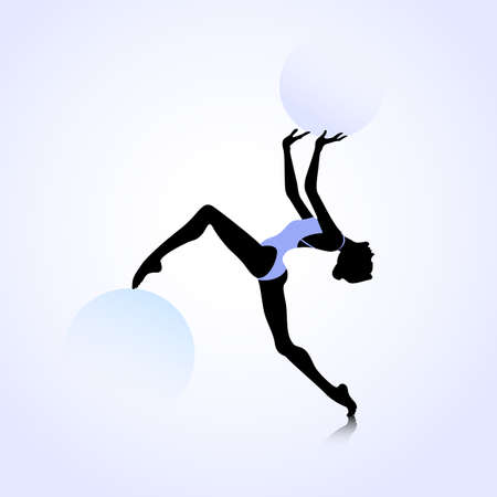 Female silhouette dancing on abstract circle background Vettoriali