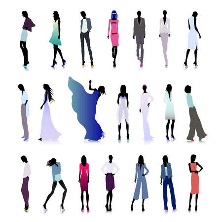 high fashion: Set of colored silhouettes of high fashion clothed women