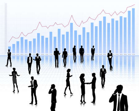 Group of people on financial graph background Vector