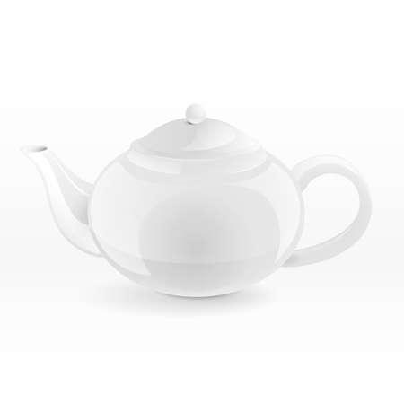 rotund: Isolated white porcelain rotund teapot