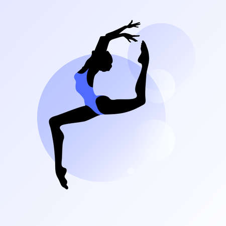 jazz dance: Female silhouette dancing on abstract circle background Illustration