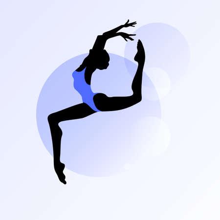 Vrouwelijke silhouet dansen op abstracte cirkel achtergrond