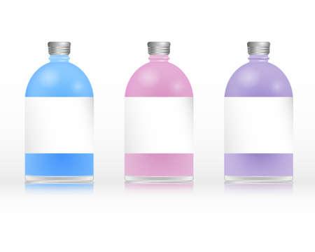 pink cap: Plastc colored bottles of shampoo Illustration
