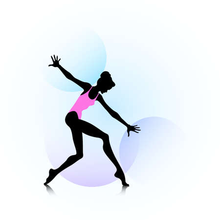 Female silhouette dancing on abstract circles background