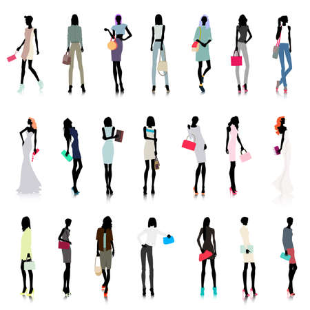 lifestyle woman: Set of female color silhouettes with handbags