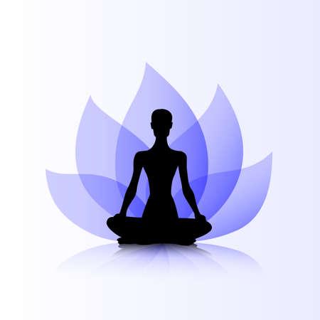 Female silhouette on the purple lotus background Ilustrace