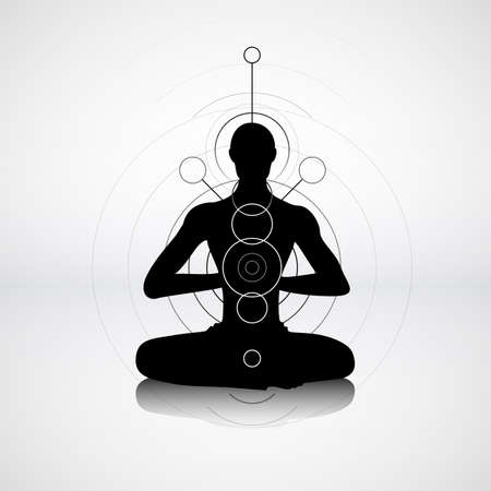 'peace of mind': Male silhouette in yoga pose with abstract chakra symbols