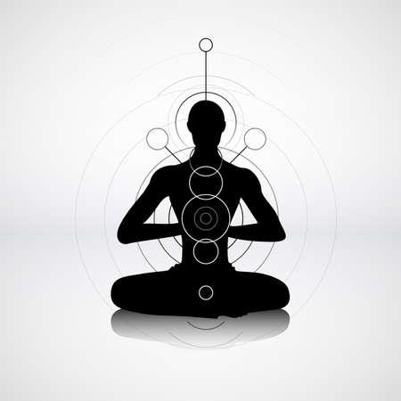 mente: Silueta masculina en pose de yoga con símbolos abstractos chakra Vectores