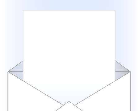 letters clipart: Opened envelope with sheet of paper