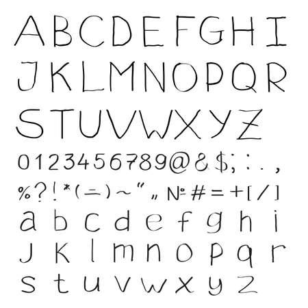 parentheses: Handwritten alphabet of roman letters and modern symbols