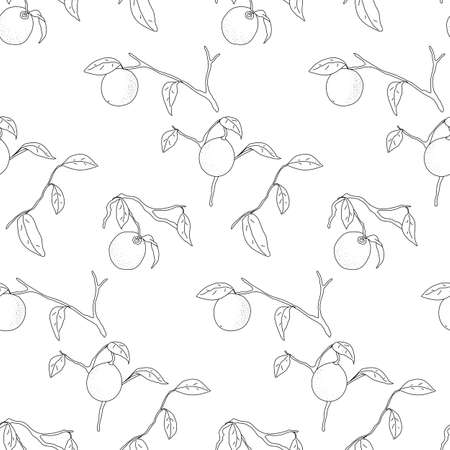 lemon tree: Seamless pattern of lemon tree branches with sample in swatch panel