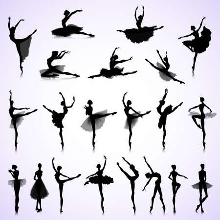 bailarina de ballet: Conjunto de siluetas femeninas de los bailarines de ballet Vectores