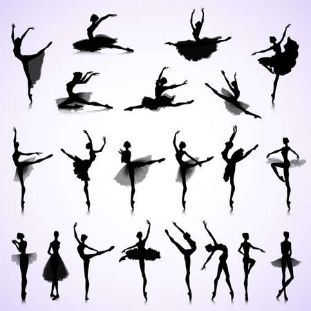 woman jump: Set of female silhouettes of ballet dancers