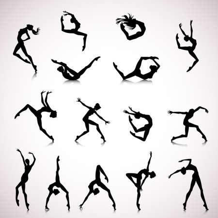 baile moderno: Conjunto de siluetas femeninas bailando en estilo moderno