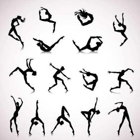 Set of female silhouettes dancing in modern style Vettoriali