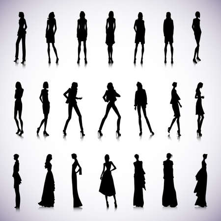 mujer elegante: Conjunto de siluetas femeninas de alta moda