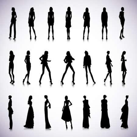 elegance silhouette: Set of high fashion female silhouettes